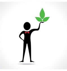 Man holding a leaf icon vector image vector image
