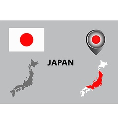 Map of japan and symbol vector