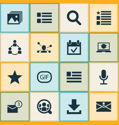 Media icons set includes icons such as social vector