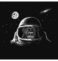 Monkey astronaut in outer space vector