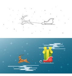 New year christmas xmas the deer and sleigh fly vector