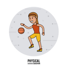 physical education - girl playing basketball sport vector image vector image