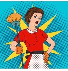 Pop art woman comic style attack bacteria vector