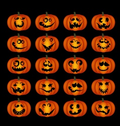 pumpkin faces vector image vector image