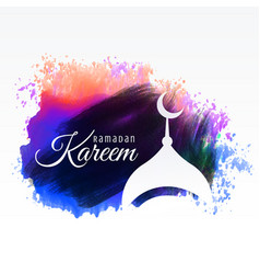 Ramadan kareem festival greeting with watercolor vector