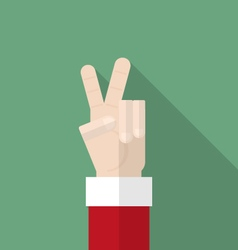 Santa claus hand show victory sign vector