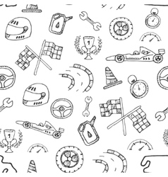 Seamless pattern racing element in a drawing style vector image vector image