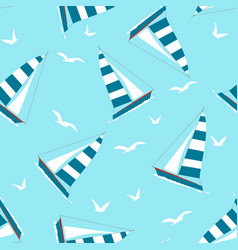 seamless pattern with yacht and seagulls vector image