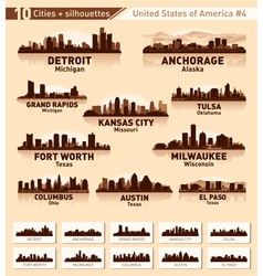 Skyline city set 10 cities of USA 4 vector image vector image