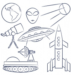 space objects collection vector image vector image
