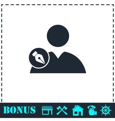 User edit icon flat vector
