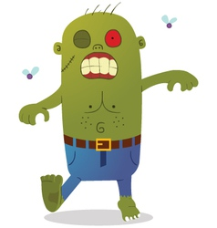 Walking green zombie vector image