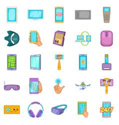 Widget icons set cartoon style vector