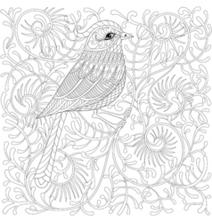 zentangle Bird Cartoon exotic and tropical vector image