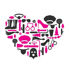 I love bdsm fetish icon set in heart shape emblem vector
