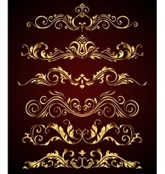 Golden vintage elements and borders set for ornate vector