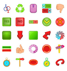 Yes and no icons set cartoon style vector