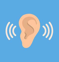 ear listen icon on blue background ear vector image