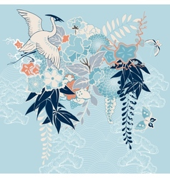 Japanese kimono motif with crane and flowers vector