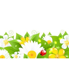 Flower border with ladybug vector
