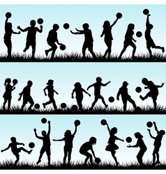 Set of children playing with balls outdoor vector