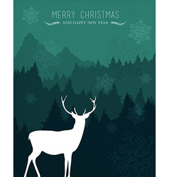 Merry christmas happy new year deer holiday card vector