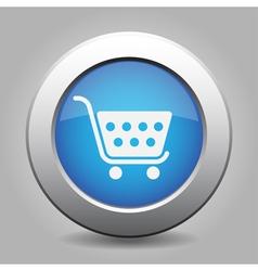 blue button - shopping cart vector image