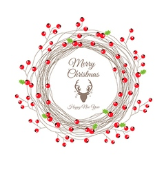 Red berry christmas wreath for happy new year card vector