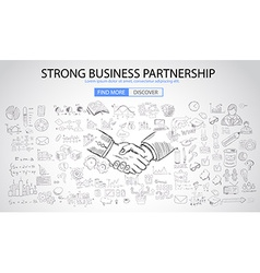 Strong business partnership concept wih doodle vector