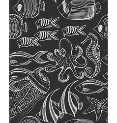 Monochrome seamless sea pattern with tropical vector