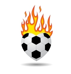 soccer ball heart vector image