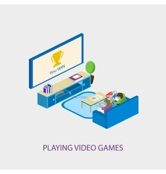 Two school kids playing video games together vector