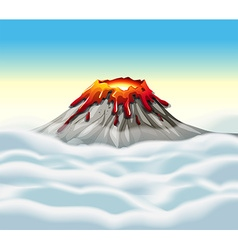 Volcano peak in the sky vector