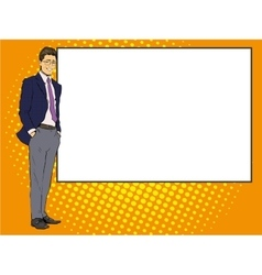 Businessman stays next to blank white board pop vector