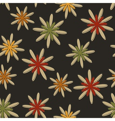 Retro seamless flower background dark vector