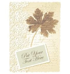 Vintage geranium leaves card vector image