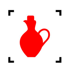 amphora sign red icon inside vector image