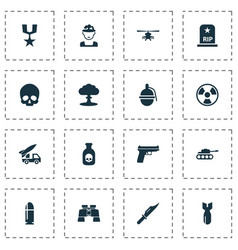 battle icons set collection of panzer cranium vector image
