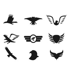 Black eagle icons set vector
