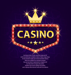 casino retro light sign with gold crown for game vector image vector image
