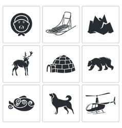Chukchi and the Far North Icons Set vector image vector image