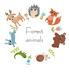 Circle frame with forest animals vector