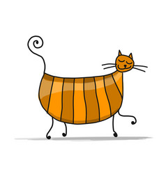 Cute pregnant cat sketch for your design vector