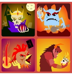 Evil icons in flat style for web and mobile vector