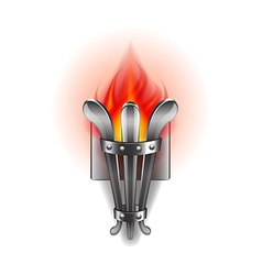 Fire torch isolated on white vector image