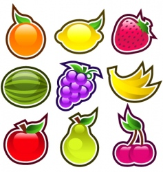 Glossy fruits vector