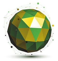 Gold and green abstract 3d network object art vector