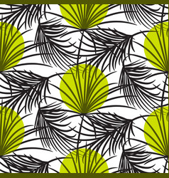 gray palm leaves with green dots seamless vector image vector image