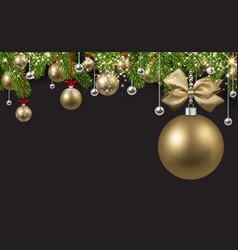 grey background with golden christmas ball vector image vector image