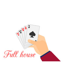 Hand with playing cards full house tens vector